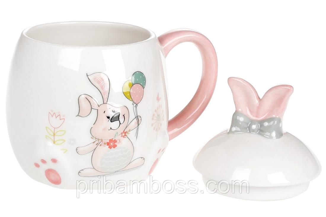 Кружка керамическая 450мл с объемным рисунком Веселый кролик