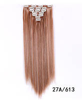 Накладні рівні волосся 7 пасм на кліпсах,тресс довжина 55 див. мелірування з відтінками рудого.