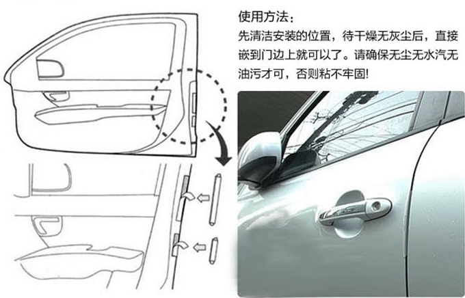 Накладки полимерные на кант дверей авто / автомобиля от сколов и ударов, защита лакокрасочного покрытия