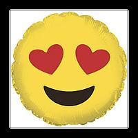 Фольгированный шар 18' Китай Смайлик влюбленный, 45 см