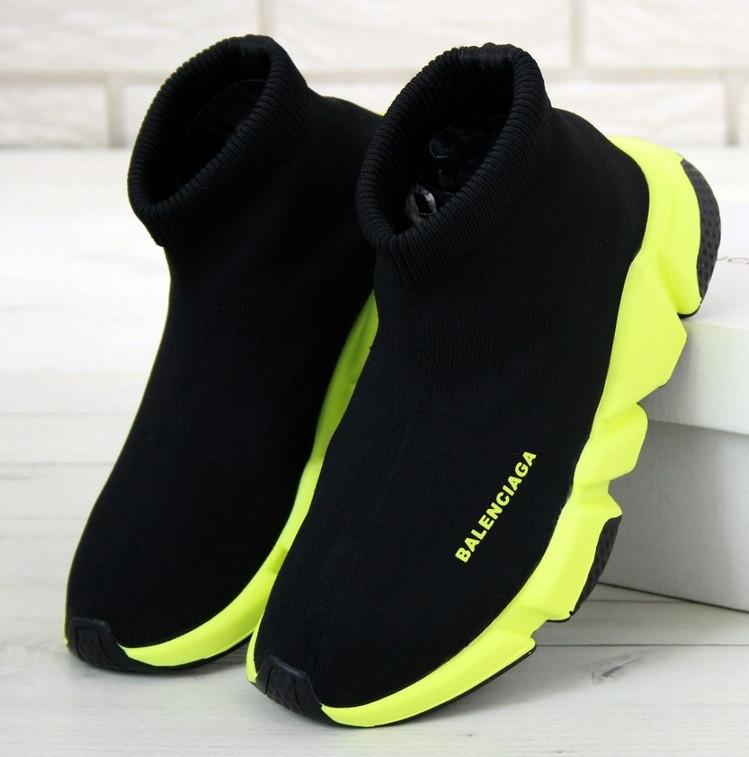 Мужские и женские кроссовки Balenciaga Speed Trainer Black/Green. Топ качество. Живое фото (Реплика ААА+)