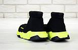 Чоловічі і жіночі кросівки Balenciaga Speed Trainer Black/Green. Топ якість. Живе фото (Репліка ААА+), фото 2