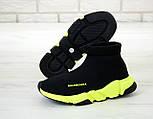 Чоловічі і жіночі кросівки Balenciaga Speed Trainer Black/Green. Топ якість. Живе фото (Репліка ААА+), фото 4