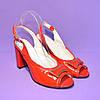 Босоножки женские красные лаковые на каблуке, фото 3