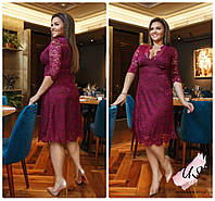 Супербатальное гипюровое платье миди с декольте. 4 цвета!