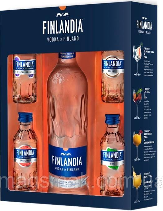 Водка Finlandia подарочный набор 0.5 л + 4 миниатюры х 0.05