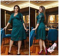 Батальное гипюровое платье миди с декольте. 4 цвета!