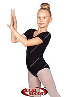 Купальник для гимнастики и танцев короткий рукав, черный GM030138 (хлопок, р-р 0-XL, рост 98-164 см)