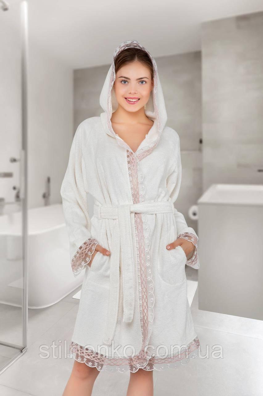 Женский красивый халат с рюшем