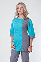 Женский медицинский брючный костюм(бирюза+серый) Medical-2250 (батист)