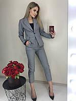 Стильный женский молодежный брючный костюм с пиджаком