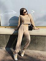 Женский молодёжный повседневный костюм с укороченное кофтой