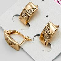 Серьги женские модные золотистые в стразах Xuping G-2387