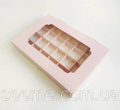 Коробка подарочная с окошком для 24 конфет 270х185х30 мм, цвет нежно-розовый