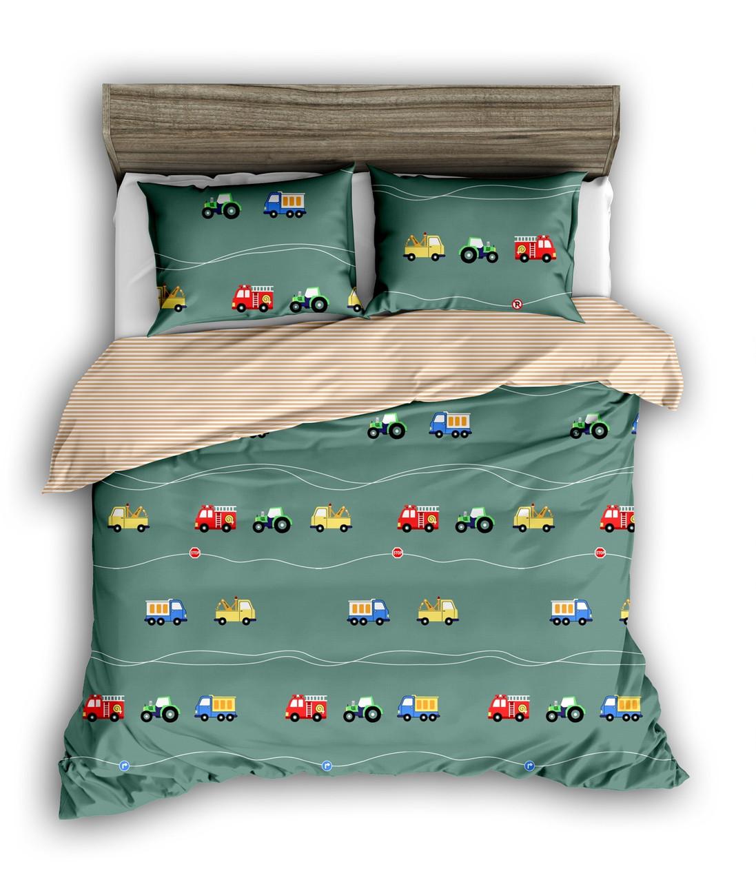 Полуторный комплект постельного белья «Машинки» 147х217 см из сатина