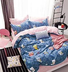 Полуторный комплект постельного белья «Спящие совушки» 147х217 см из сатина, (50Х70)