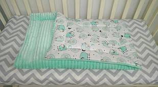 Теплое детское одеяло в кроватку или коляску 80*110 см Барашки