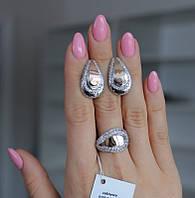 Серебряный комплект в виде капли с золотом Энигма