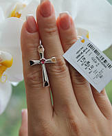 Крест декоративный с розовым цирконом и золотом Декор