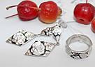 Серебряные серьги и кольцо с бело-черной эмалью Роза, фото 4