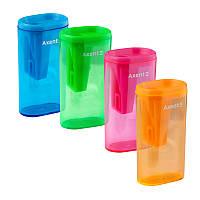 Точилка с контейнером, 1 отверстие, ассорти цветов, Lighter, AXENT