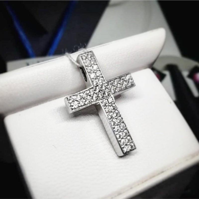 Крест серебряный с белыми фианитами Сити