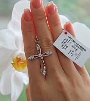 Крест из серебра с белыми фианитами Ника