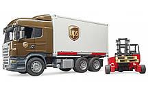 Игрушка BRUDER Фургон - контейнеровоз SCANIA с погрузчиком и паллетами 1:16 (03581)