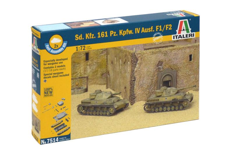 SD. KFZ. 161 PZ. KPFW. IV AUSF.F1/F2. Сборная модель танка. Быстрая сборка. В наборе 2 модели. ITALERI 7514
