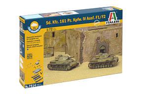 SD. KFZ. 161 PZ. KPFW. IV AUSF.F1/F2. Сборная модель танка. Быстрая сборка. В наборе 2 модели. ITALERI 7514, фото 2