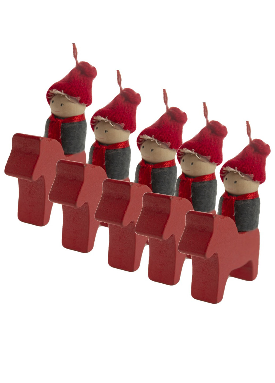 """Набор ёлочных игрушек """"Мальчик на лошадке"""" (5шт) Coincasa 8х5см"""
