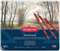 Набор карандашей для рисунка Drawing, 24шт., мет. коробка, Derwent