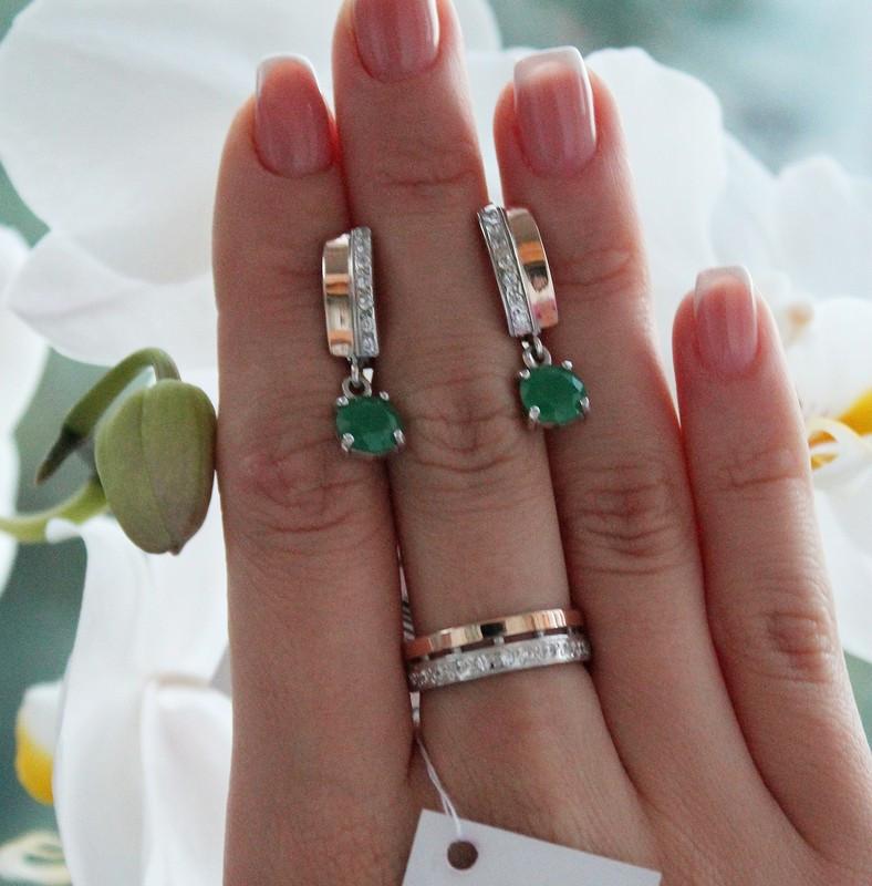 Ювелирные украшения в серебре с золотом и зеленым цирконом Адалин