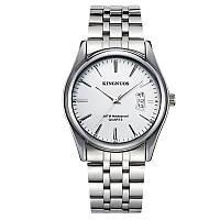 Часы мужские Kingnuos наручные кварцевые с металлическим браслетом и белым циферблатом