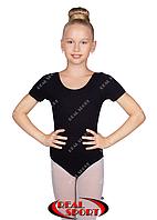 Купальник короткий рукав для танцев и гимнастики, черный GM0300139 (хлопок, р-р L-XL, рост 146-164 см)