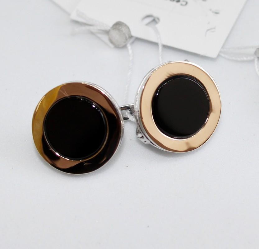 Круглые сережки с ониксом и золотом Джакарта