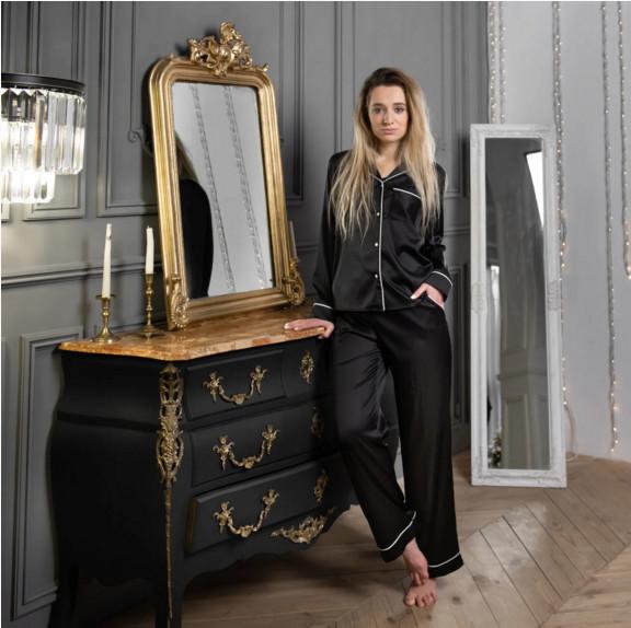 Шелковая пижама женская(рубашка+штаны) черная