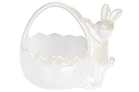 Декоративная конфетница Кролик с корзиной 15,7см (2 шт.) цвет - белый перламутр, 739-701