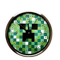 Часы настенные кварцевые Creeper Minecraft круглые