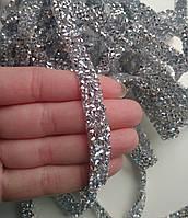 Стразовая термо тесьма из конусных страз Crystal/Silver, шир.1 см. Цена за 0,5 м, фото 1