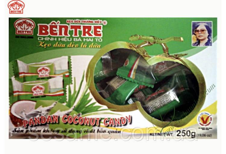 Кокосовые натуральные конфеты Bentre  250г c соком листьев Pandan  (Вьетнам)
