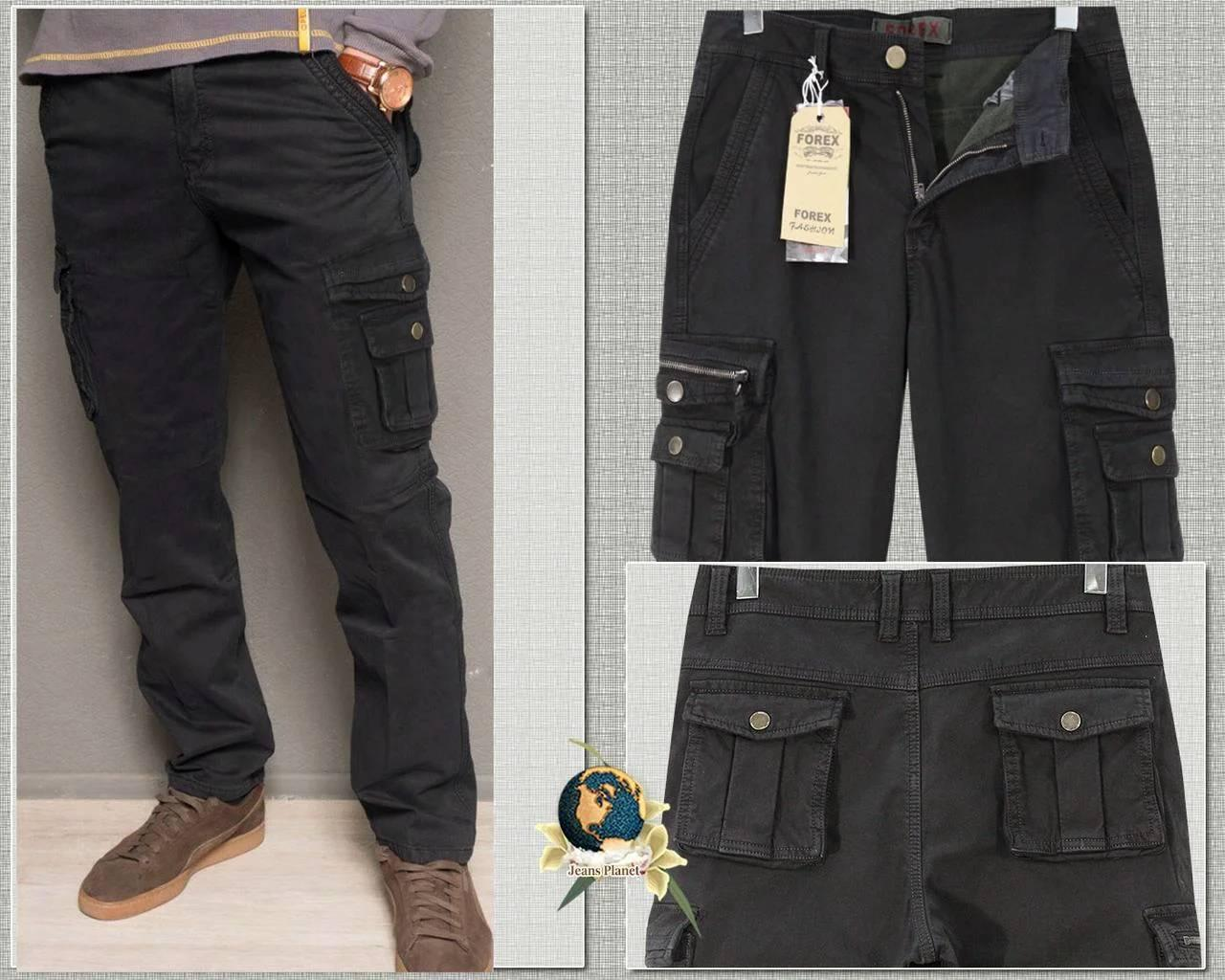 Джинси чоловічі з накладними кишенями Forex чорні осінь-зима 38 розмір