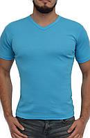 Мужская футболка | цвет бирюза светлая | стрейч хлопок | V-образное горло | без рисунка