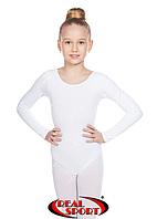 Детский гимнастический купальник, белый GM030140 (хлопок, р-р 0-M, рост 98-146 см)
