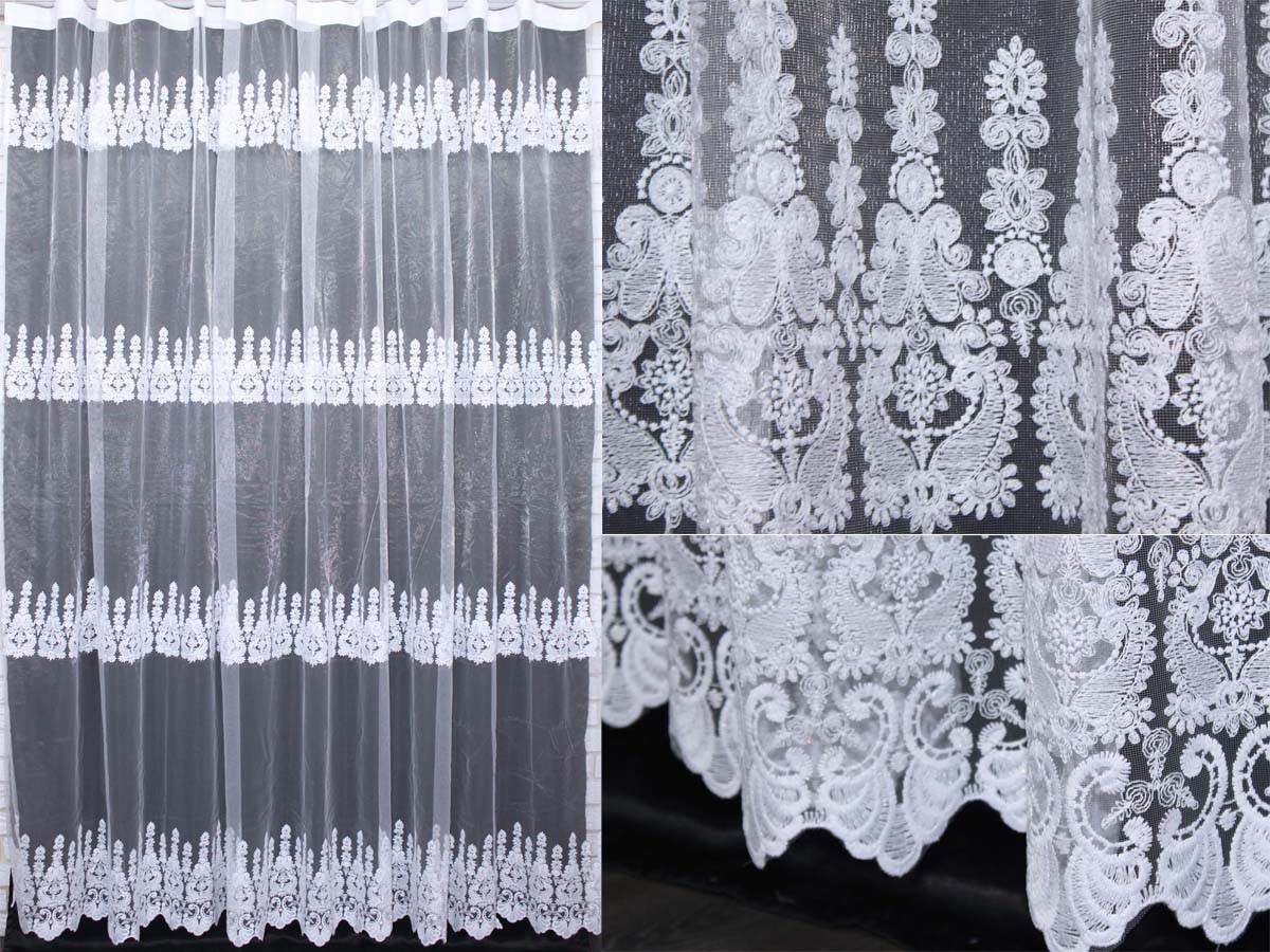 Тюль фатин с вышивкой, цвет белый. (3х2,5м)  Код 280т 40-163