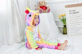 Детская пижама кигуруми Единорог радужный 100см