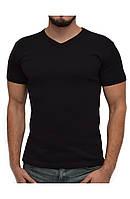 Мужская футболка | цвет черный | стрейч хлопок | V-образное горло | без рисунка