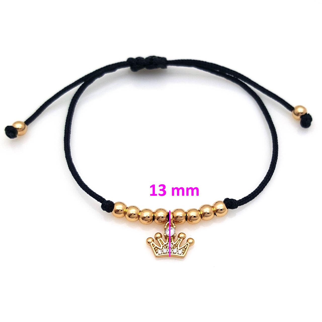 Браслет Черная Шелковая ниточка с шарами и короной, вставка цирконий, позолота, 18К