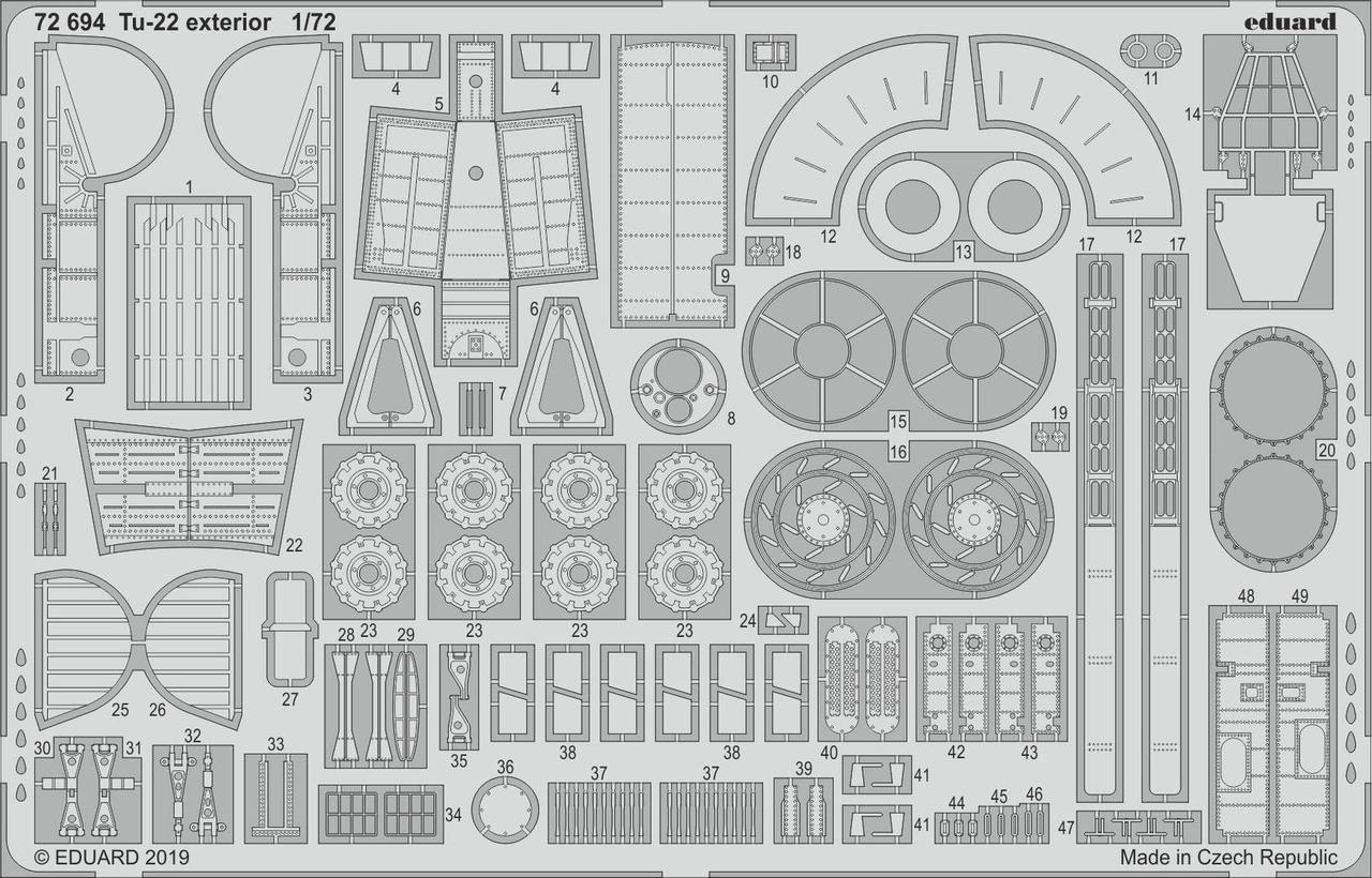 Ту-22 экстерьер. Набор деталировки модели TRUMPETER . 1/72 EDUARD 72694