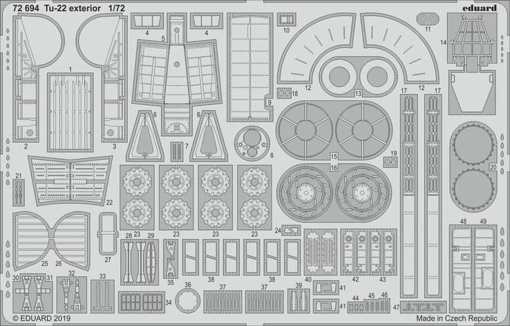Ту-22 экстерьер. Набор деталировки модели TRUMPETER . 1/72 EDUARD 72694, фото 2